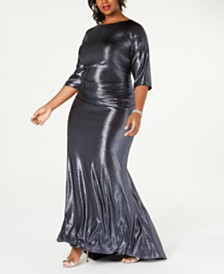 Betsy & Adam Plus Size Long Metallic Gown