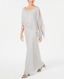 J Kara Embellished Overlay Gown