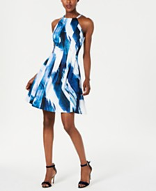 Vince Camuto Halter Scuba Fit & Flare Dress