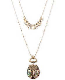 """lonna & lilly Gold-Tone Abalone-Look Convertible Pendant Necklace, 34"""" + 3"""" extender"""