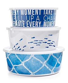 The Cellar Coastal Melamine Nesting Bowls with Lids, Set of 3, Created for Macy's