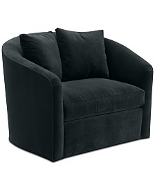"""Hotel Collection Elisabeta 46"""" Fabric Swivel Chair, Created for Macy's"""