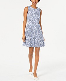 Border-Print Fit & Flare Dress, Created for Macy's