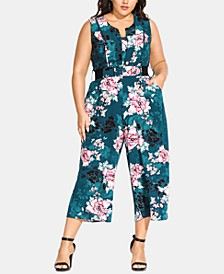 Trendy Plus Size Jade Blossom Jumpsuit