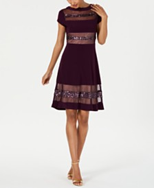 R & M Richards Petite Embellished Illusion-Stripe Fit & Flare Dress