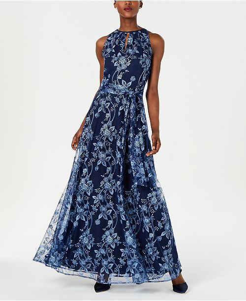 Tahari ASL Embroidered Mesh Gown