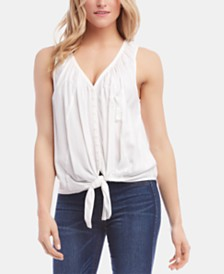 Karen Kane Sleeveless Button-Front Tie-Hem Top