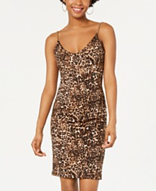 Jump Juniors' Leopard-Print Chain-Strap Dress
