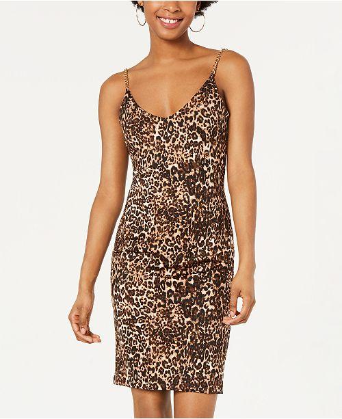Jump Juniors' Leopard-Print Chain-Strap Dress