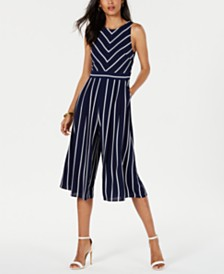 Jessica Howard Petite Striped Cropped Jumpsuit