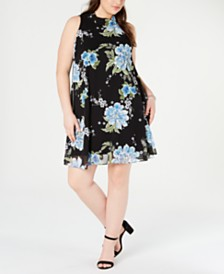 Robbie Bee Plus Size Floral Chiffon Flyaway Dress
