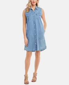 Karen Kane Sleeveless Button-Front Chambray Dress