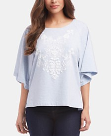 Karen Kane Textured Elbow-Sleeve Top