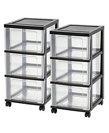 Iris 3-Drawer Narrow Cart, 2 Pack