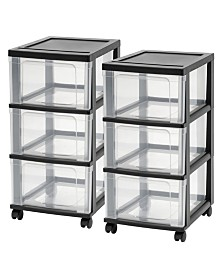 Iris 3-Drawer Narrow Cart, 2 Pack