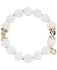 Anne Klein Gold-Tone White Faceted Bead Stretch Bracelet