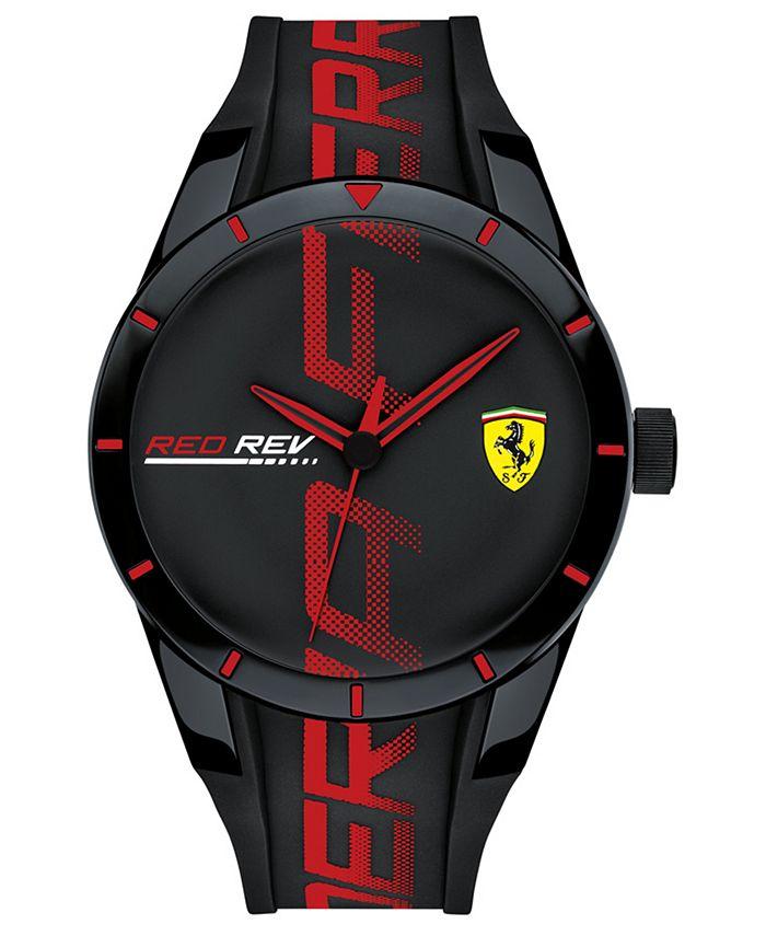 Ferrari - Men's RedRev Black Silicone Strap Watch 44mm