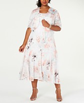 854c1f5b641a0 Alex Evenings Plus Size Tea-Length Dress & Printed Jacket