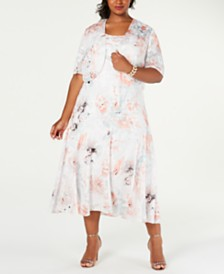 Alex Evenings Plus Size Tea-Length Dress & Printed Jacket