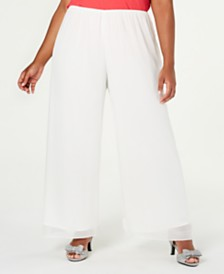 Alex Evenings Plus Size Silky Chiffon Pants