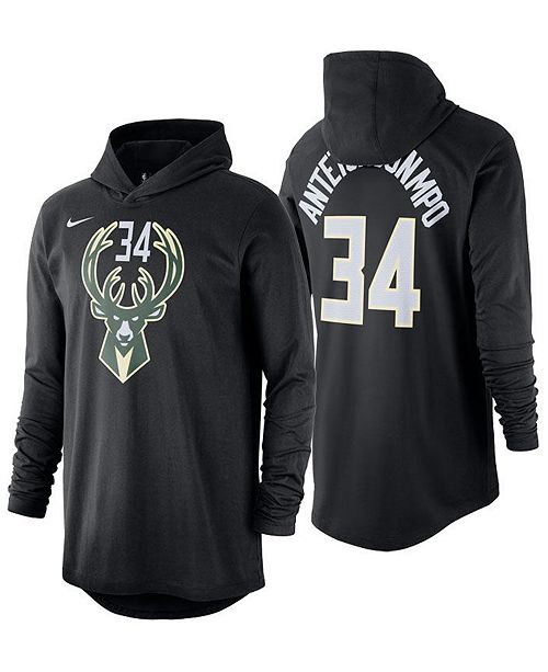 884f26ce3 ... Nike Men's Giannis Antetokounmpo Milwaukee Bucks Hooded Player Name and  Number Long Sleeve T-Shirt ...