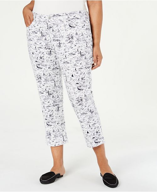 Charter Club Plus Size Printed Bristol Capri Jeans, Created for Macy's
