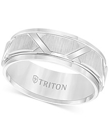Men's White Tungsten Ring, Bright Cuts Wedding Band