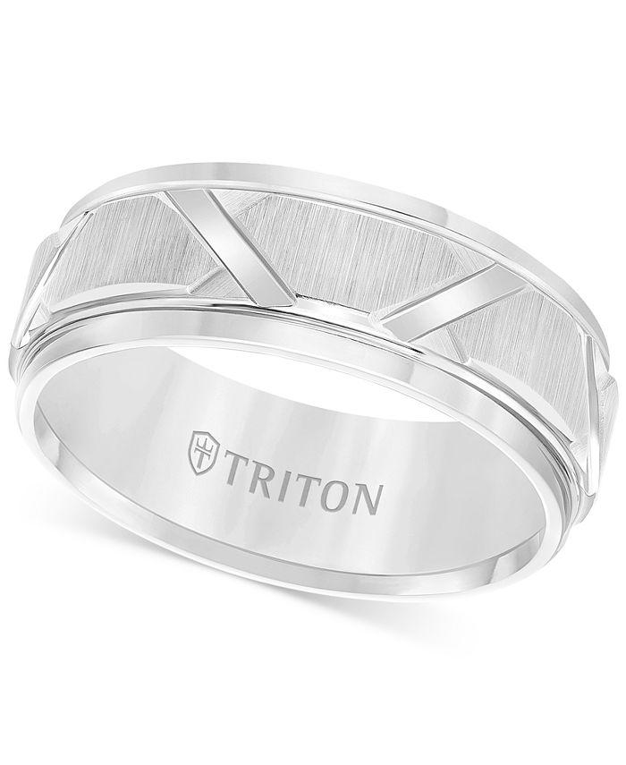 Triton - Men's White Tungsten Ring, Bright Cuts Wedding Band