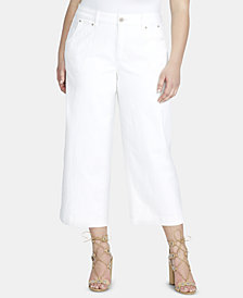 Jessica Simpson Trendy Plus Size Adored Wide-Leg Cropped Cargo Jeans