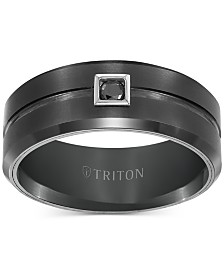 Triton Men's Black Tungsten Ring, Black Diamond Wedding Band (1/10 ct. t.w.)