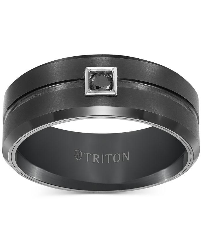 Triton - Men's Black Tungsten Ring, Black Diamond Wedding Band (1/10 ct. t.w.)
