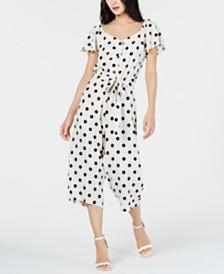 Monteau Petite Polka-Dot Flutter-Sleeve Jumpsuit