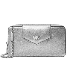 MICHAEL Michael Kors Metallic Pebble Leather Crossbody Clutch