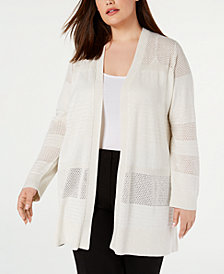 Calvin Klein Plus Size Pointelle-Striped Open-Front Cardigan