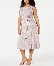 Anne Klein Plus Size A-Line Midi Dress