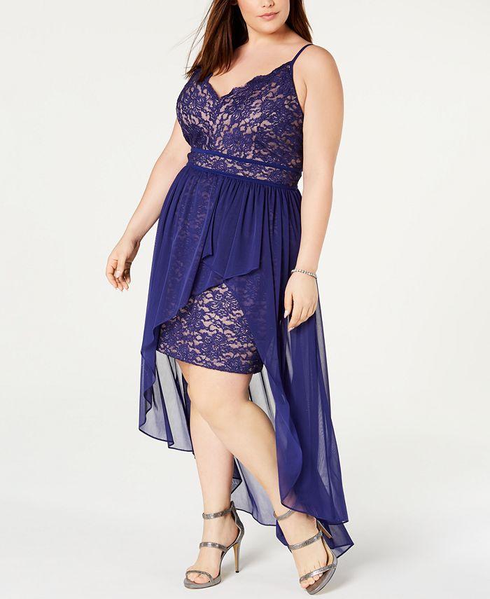 Morgan & Company - Juniors' Trendy Plus Size Scalloped Lace Dress