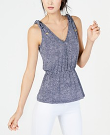 MICHAEL Michael Kors Mosaic Tie-Shoulder Top, Regular & Petite Sizes