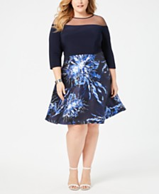 R & M Richards Plus Size Floral-Print Illusion Fit & Flare Dress
