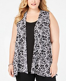 Plus Size Printed Sleeveless Layered-Look Top