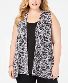 NY Collection Plus Size Printed Sleeveless Layered-Look Top