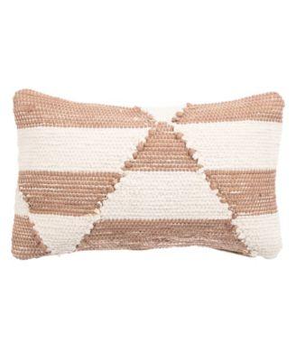 "Nikki Chu By Tanis Cream/Pink Geometric Poly Throw Pillow 16"" x 24"""