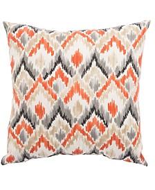 "Jaipur Living Sainsbury Frensco Orange/Gray Ikat Indoor/ Outdoor Throw Pillow 20"""