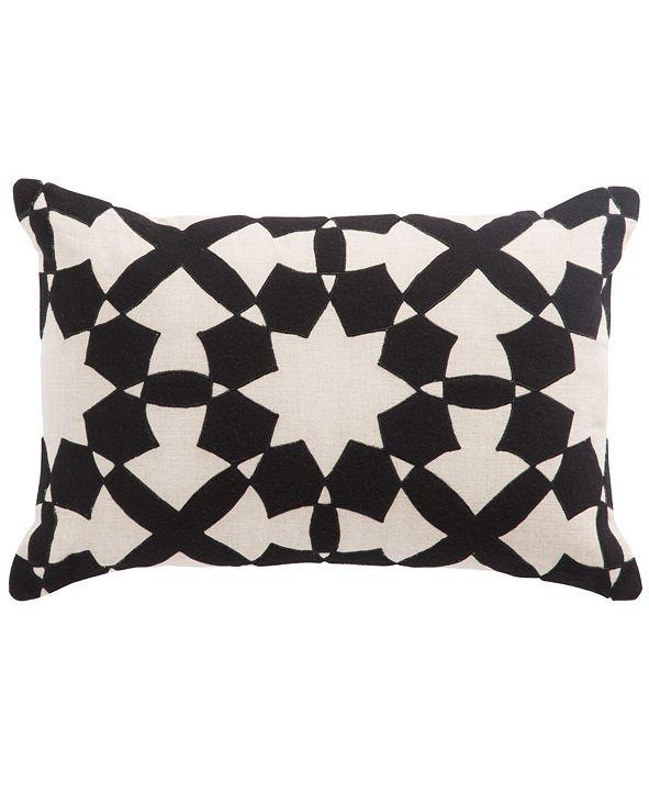 "Jaipur Living Nikki Chu By Casino Black/Ivory Geometric Down Throw Pillow 16"" x 24"""