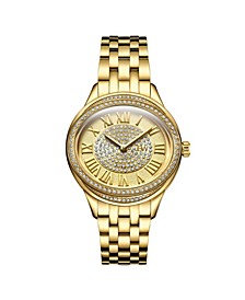 Women's Plaza Oval Diamond 18K Gold Plated Watch