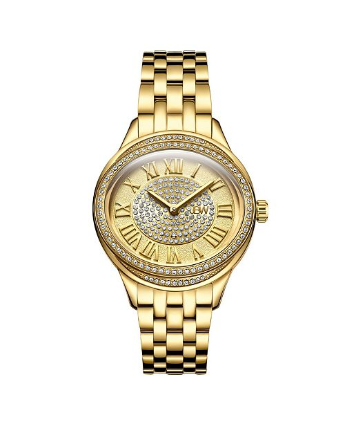 Jbw Women's Plaza Oval Diamond 18K Gold Plated Watch