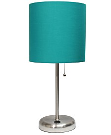 Lime Lights Stick Lamp with USB charging port and Fabric Shade