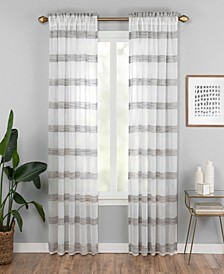 "Kyoto 52"" x 84"" Striped Semi-Sheer Curtain Panel"