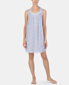 Eileen West Lace-Trim Floral-Print Cotton Chemise Nightgown