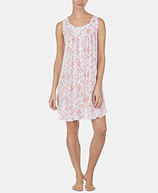 Ruffled Cotton Knit Chemise Nightgown