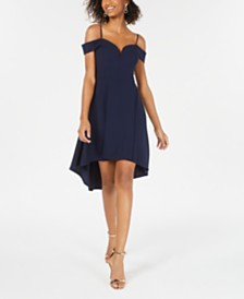 City Studios Juniors' Off-The-Shoulder High-Low Dress